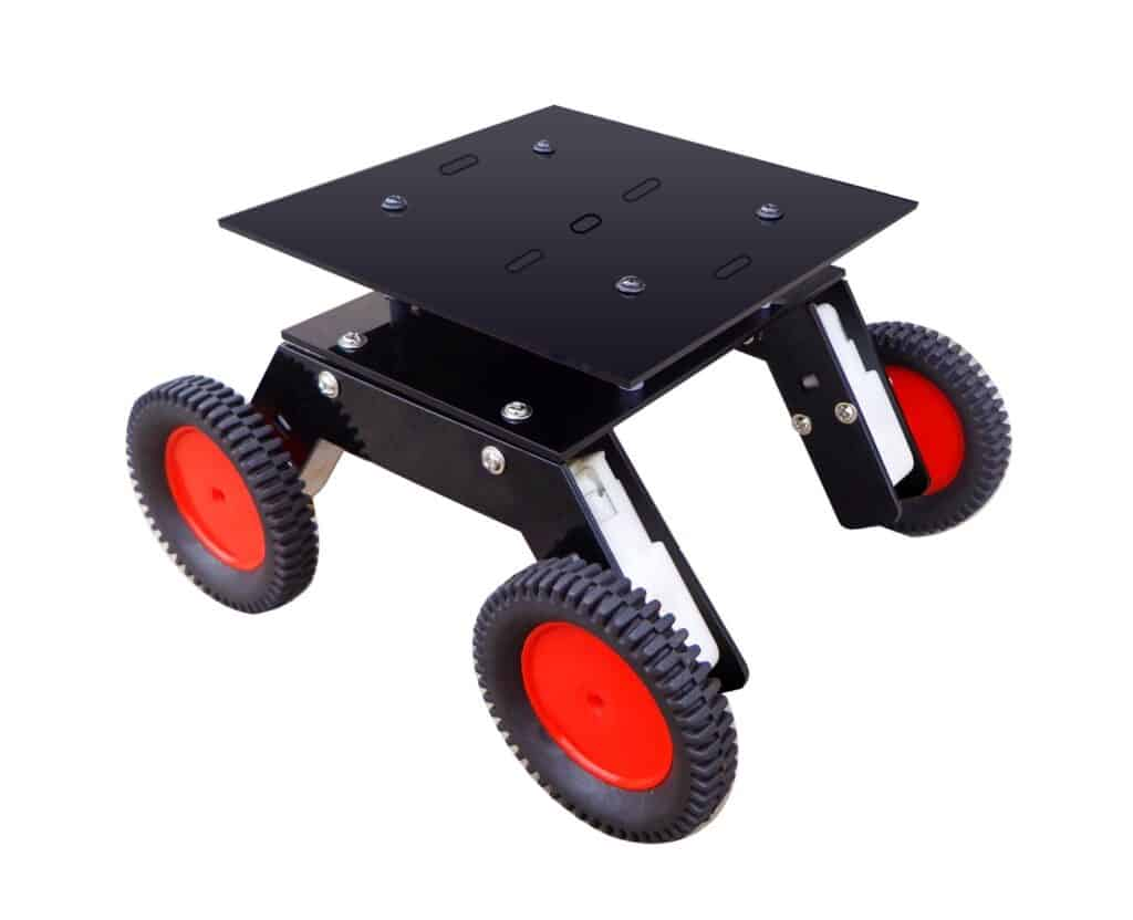 Kit4Curious Acrylic Nasa Tech Multi Purpose 4 Wheel Double Layer Robotic Chassis Set with 4 Motors