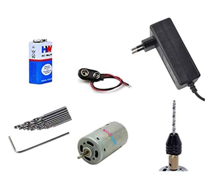 Micro DIY Electric Steel Hand Drill PCB Press Drilling Set 12V Motor