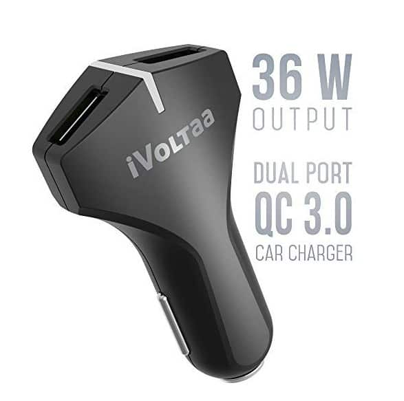 iVoltaa QC 3.0 Dual Port 36 W Turbo Car Charger with Micro USB Cable