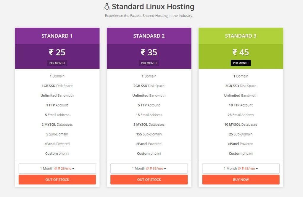 Bluegeek standard shared hosting plans