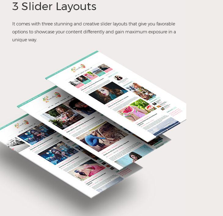 feminine wordpress theme 2 slider layouts